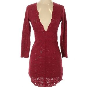 Free People Intimately Red Lace Plunge Dress